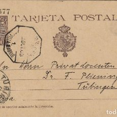Sellos: ENTERO POSTAL-ALFONSO XIII CADETE AÑO 1901 Nº ED 37 MAT AMBULANTE SEVILLA/MADRID DEST ALEMANIA. Lote 138889138