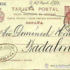 Sellos: ENTERO POSTAL - CORDELERÍA HNOS. DOMÉNECH BADALONA - SALVADOR OLIVER - 1910. Lote 139679798