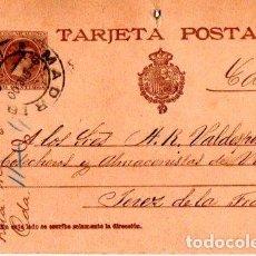 Sellos: ENTERO POSTAL ALFONSO XIII, MADRID- JEREZ DE LA FRONTERA. 1900. Lote 142878438