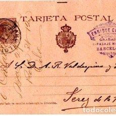 Sellos: ENTERO POSTAL ALFONSO XIII, ENRIQUE CALADO BARCELONA- JEREZ DE LA FRONTERA. 1900. Lote 142878854