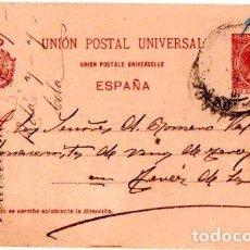 Sellos: ENTERO POSTAL ALFONSO XIII,VINOS Y ACEITES JOSE VERDAGUER BARCELONA- JEREZ DE LA FRONTERA. 1900. Lote 142879330