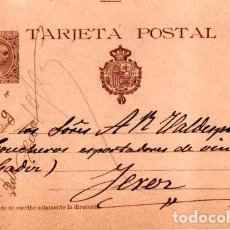 Sellos: ENTERO POSTAL ALFONSO XIII, MURCIA- JEREZ DE LA FRONTERA. 1900. Lote 142879634