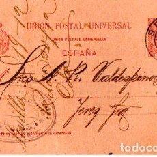 Sellos: ENTERO POSTAL ALFONSO XIII, SEVILLA- JEREZ DE LA FRONTERA. 1900. Lote 142880110