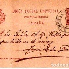 Sellos: ENTERO POSTAL ALFONSO XIII, VINOS Y ACEITES JOSE VERDAGUER BARCELONA- JEREZ DE LA FRONTERA. 1900. Lote 142880266