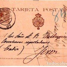 Sellos: ENTERO POSTAL ALFONSO XIII, MURCIA- JEREZ DE LA FRONTERA. 1900. Lote 142880626