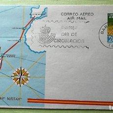 Sellos: ESPAÑA. AEROGRAMA 201 RAID PALOS DE MOGUER-BUENOS AIRES, 1926. 1981. MATASELLO PRIMER DÍA. Lote 143700241