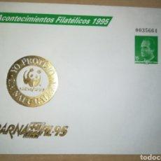 Sellos: ESPAÑA SPAIN BARNAFIL 95 EDIFIL 27 IMPRESIÓN EN ORO SOBRE ENTERO POSTAL SEP FAUNA WWF 1995. Lote 151446238