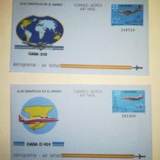 Sellos: ESPAÑA AEROGRAMAS 1983 ALAS ESPAÑOLAS EN EL MUNDO AVIONES CASA EDIFIL 205-206. Lote 156746598