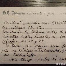 Sellos: 1912 TARJETA POSTAL DOCTOR THEBUSSEM MARIANO PARDO FIGUEROA MANUEL RODRIGUEZ MEDINA SIDONIA CADIZ. Lote 156752774