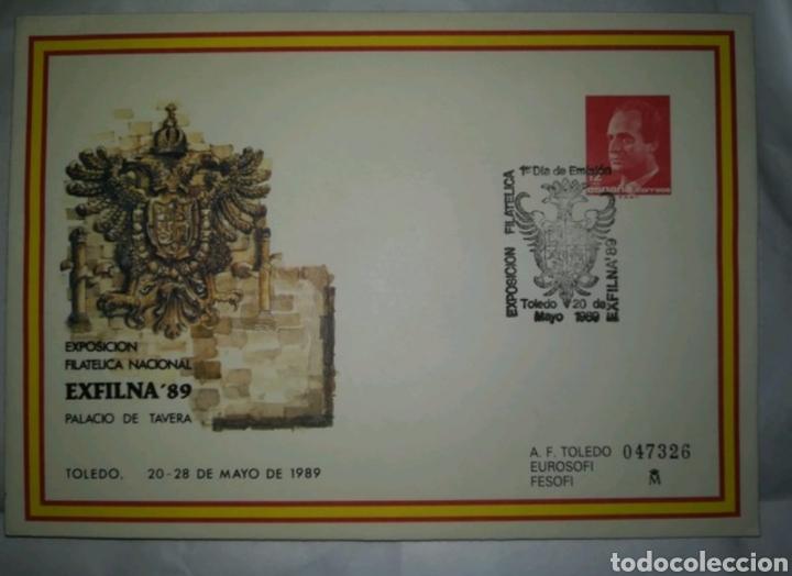 ESPAÑA SPAIN EXFILNA 89 TOLEDO MATASELLO DE PRIMER DIA EDIFIL 13 SOBRE ENTERO POSTAL SEP 1989 (Sellos - España - Entero Postales)
