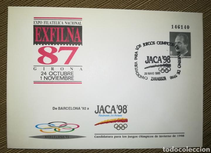 ESPAÑA SPAIN EXFILNA 1987 GERONA OLIMPADA JACA 1998 MATASELLO EDIFIL 10A SOBRE ENTERO POSTAL SEP (Sellos - España - Entero Postales)