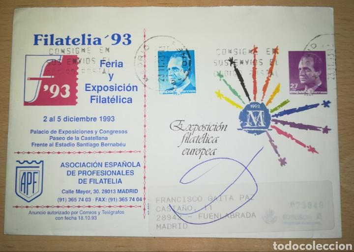 ESPAÑA SOBRE ENTERO POSTAL ANUNCIADOR SOBREIMPRESIÓN APF FILATELIA 1993 CATALOGO ANGEL LAIZ 17A (Sellos - España - Entero Postales)