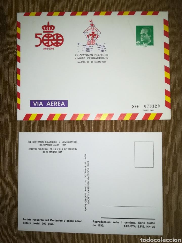 ESPAÑA SPAIN CERTAMEN FILATÉLICO IBEROAMERICANO 1987 EDIFIL 7 SOBRE ENTERO POSTAL SEP (Sellos - España - Entero Postales)