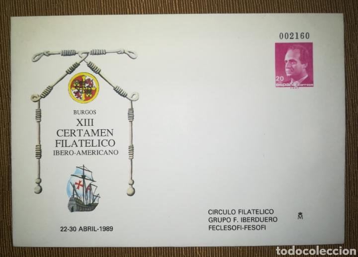ESPAÑA SPAIN XIII CERTAMEN FILATÉLICO IBEROAMERICANO BURGOS 1989 EDIFIL 12 SOBRE ENTERO POSTAL SEP (Sellos - España - Entero Postales)