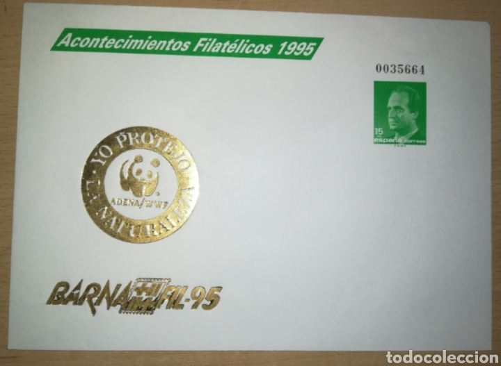 ESPAÑA SPAIN BARNAFIL 95 EDIFIL 27 IMPRESIÓN EN ORO SOBRE ENTERO POSTAL SEP FAUNA WWF 1995 (Sellos - España - Entero Postales)