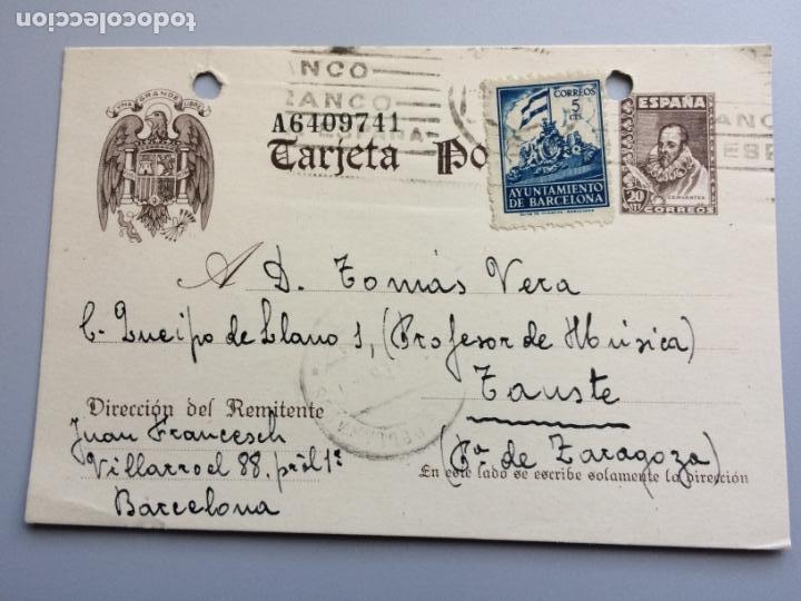 TARJETA POSTAL ESCUDO AGUILA UNA GRANDE Y LIBRE AÑO 1941 MATASELLADA EN BARCELONA . (Sellos - España - Entero Postales)