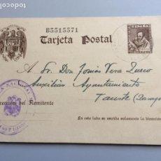 Sellos: TARJETA POSTAL ESCUDO AGUILA UNA GRANDE Y LIBRE AÑO 1942 MATASELLADA EN MAÑANET LERIDA . . Lote 166181338