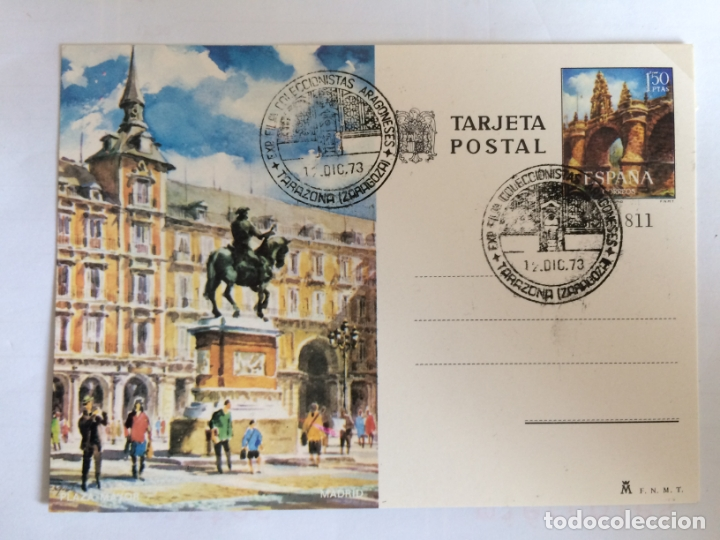 TARJETA POSTAL . PLAZA MAYOR MADRID. EXPOSICION FILATELICA COLECCIONISTAS ARAGONESES (Sellos - España - Entero Postales)