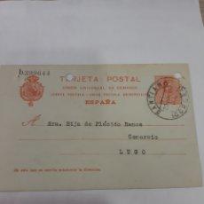 Sellos: 1917 SANTIAGO DE COMPOSTELA LALINDE Y MARTÍNEZ DIRIGIDO A LUGO MATASELLO SANTIAGO LA CORUÑA. Lote 168450748