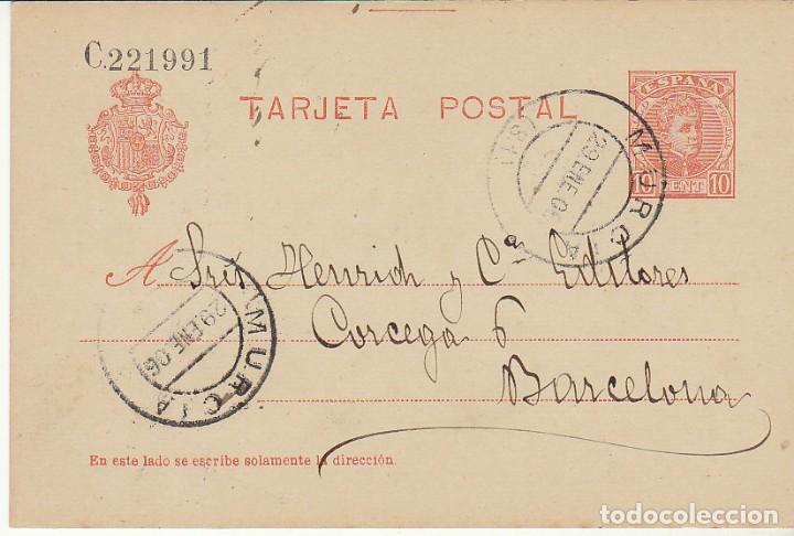 ETP : O 45. ALFONSO XIII -CADETE- MURCIA A BARCELONA. 1906 (Sellos - España - Entero Postales)