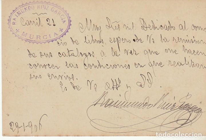 Sellos: ETP : o 45. ALFONSO XIII -CADETE- MURCIA a BARCELONA. 1906 - Foto 2 - 169745004