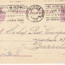 Sellos: ETP : O 58 ALFONSO XIII (VAQUER). MURCIA A BARCELONA . 1932. Lote 169749240