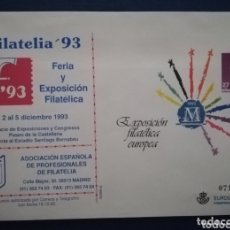 Sellos: ESPAÑA SOBRE ENTERO POSTAL ANUNCIADOR SOBREIMPRESIÓN APF FERIA FILATELIA 1993 ANGEL LAIZ 17A. Lote 172168602