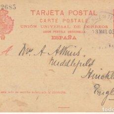Sellos: OROTAVA (SANTA CRUZ DE TENERIFE) A HIRICKLEY (INGLATERRA). 1903. Lote 173048539