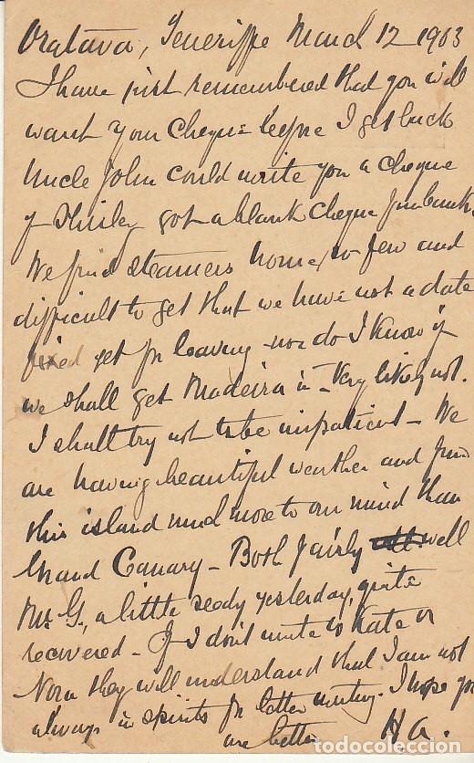 Sellos: OROTAVA (SANTA CRUZ de TENERIFE) a HIRICKLEY (INGLATERRA). 1903 - Foto 2 - 173048539