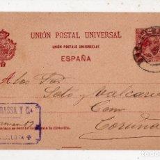 Sellos: ENTERO POSTAL ALFONSO XIII. VALOR POSTAL 10 CÉNTIMOS. COLOR BURDEOS. CIRCULADO EN ABRIL DE 1899.. Lote 181759845