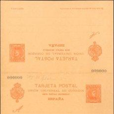 Selos: ESPAÑA. ENTERO POSTAL. (*)EP40N. 1902. 10 CTS + 10 CTS NARANJA SOBRE TARJETA ENTERO POSTAL DE IDA Y. Lote 183148001