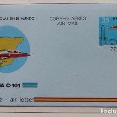 Sellos: AEROGRAMA CON SELLO IMPRESO, AVION CASA C-101 AÑO 1983. Lote 186012995