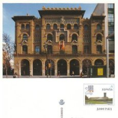 Sellos: TARJETA DEL CORREO 50-1, ARQUITECTURA POSTAL: EDIFICIO DE CORREOS DE ZARAGOZA, SIN USAR. Lote 190277420