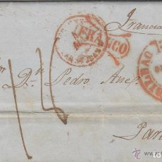 Sellos: PREFILATELIA CARTA 1847 BILBAO Y MARCA FRANCO / DESTINO FRANCIA - PARÍS MATASELLO LLEGADA TRÁNSITO. Lote 191128177