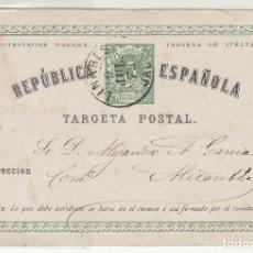 Sellos: E.P.: 0 5 V. .I REPÚBLICA. LINARES (JAEN) A ALICANTE. 1875.. Lote 191359472