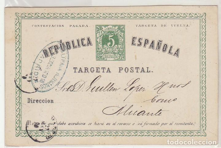 E.P.: 0 5 V. .I REPÚBLICA. MADRID A ALICANTE. 1875. (Sellos - España - Entero Postales)