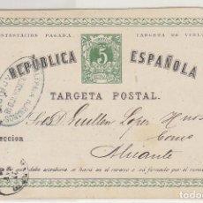 Sellos: E.P.: 0 5 V. .I REPÚBLICA. MADRID A ALICANTE. 1875.. Lote 191359708