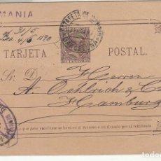 Sellos: E.P.: 0 19. ALFONSO XIII. BARCELONA A HAMBURG (ALEMANIA). 1890.. Lote 191459416
