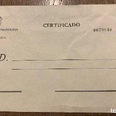 Sellos: ENTERO POSTAL CERTIFICADO. DEPOSITARIA PAGADURIA DE HACIENDA. SIN CIRCULAR. Lote 192083836