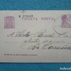 Selos: ENTERO POSTAL DE LA REPÚBLICA ESPAÑOLA. DIRIGIDO DE VIVEIRO A LA CORUÑA. 12 DE AGOSTO DE 1933.. Lote 196372696