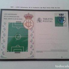 Francobolli: ESPAÑA TARJETA ENTERO POSTAL. ANIVERSARIO DE LA FUNDACION DEL REAL UNIÓN CLUB DE IRÚN. Lote 197507288