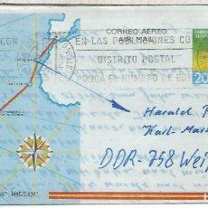 Sellos: AEROGRAMA RAID AEREO PALOS MOGUER BUENOS AIRES DE PLAYA DE LOS CRISTIANOS TENERIFE A ALEMANIA. Lote 199186447