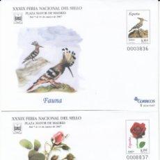Sellos: SOBRES ENTERO POSTALES 2007 FERIA NACIONAL DEL SELLO - MADRID - FAUNA Y FLORA NUMS. 112 - 113. Lote 239656690