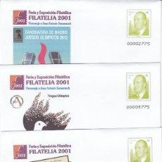 Timbres: 4 SOBRES ENTERO POSTALES FERIA Y EXP- FILATELICA FILATELIA -2001 NUM. 74. Lote 200023158