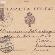 Sellos: ENTERO POSTAL ALFONSO XIII - MONDRAGON A BASEL (SUIZA) - MATASELLO TREBOL (29) - ABRIL 1903. Lote 201228476
