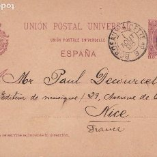 Sellos: ENTERO POSTAL ALFONSO XIII (Nº 31) - USADO - BARCELONA A NIZA POR CETTE (FRANCIA). Lote 201233966