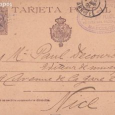 Sellos: ENTERO POSTAL ALFONSO XIII - CASTAÑO PELON 10 CTMS - DE BARCELONA A NIZA (FRANCIA) - ENERO 1901. Lote 201294983