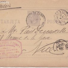 Sellos: ENTERO POSTAL 1882 ALFONSO XII 10 CTMS VIOLETA GRIS - DE BARCELONA A NIZA. Lote 201296342