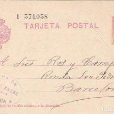 Sellos: ENTERO POSTAL NUM 57 DE VDA. VICENTE SANCHEZ EN ALMERÍA - SELLO CON TONOS AMARILLOS 1931. Lote 201913581