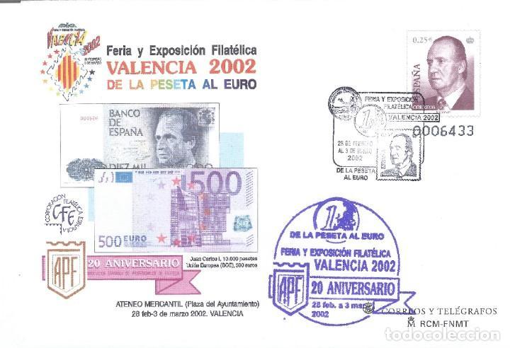 VALENCIA 2002. DE LA PESETA AL EURO. FERIA Y EXPOSICIÓN FILATÉLICA. SOBRE CONMEMORATIVO. (Sellos - España - Entero Postales)